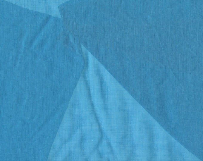Vintage Organdy cotton fabric by the yard, blue Swiss Made