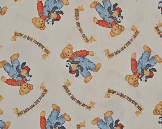 Blue jean teddy bear fabric, Daisy Kingdom 1990s retro