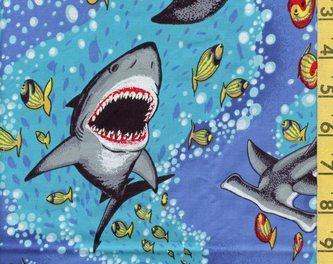 Novelty shark attack cotton fabric by the yard