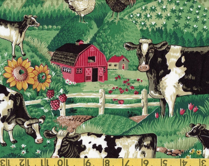 Farm scenic fabric, Joan Kessler Concord fabric with cows, barns, sunflowers