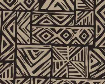 Trans Pacific Textiles fabric Jersey Knit Tribal and Tatts Taupe