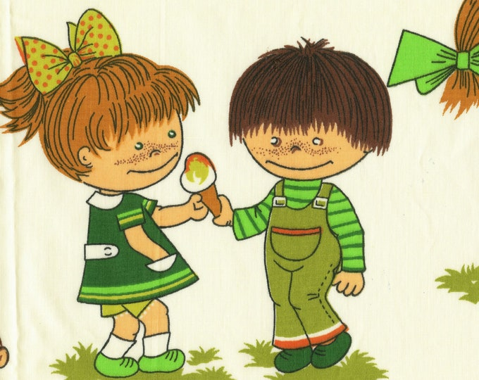 Whimsical cartoon kids fabric, 1970s fabric, conversational print