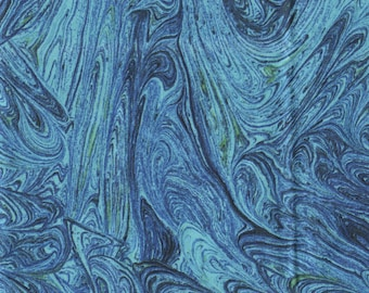 Blue Swirled marble print fabric, Quilter cotton