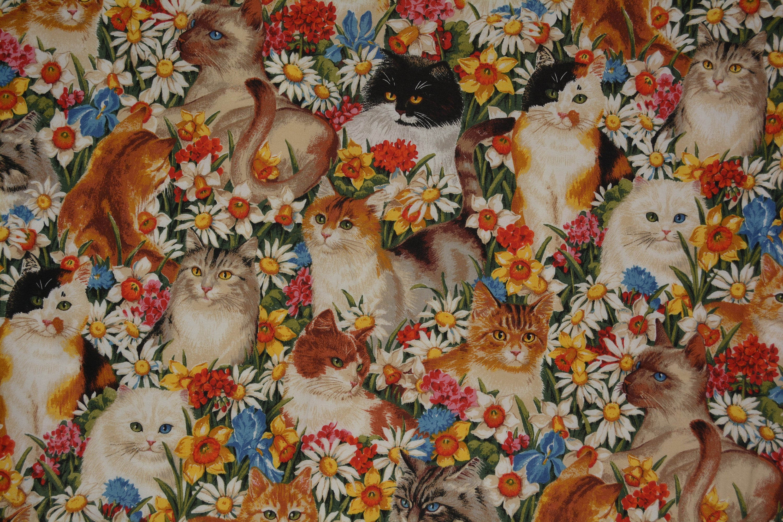 "Vintage Daisy Kingdom Parlor Cats Print  Cotton Fabric Panel 44"" W"