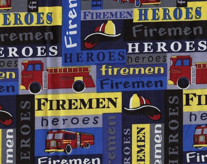 Firemen Heroes fabric, first responders fire trucks fabric