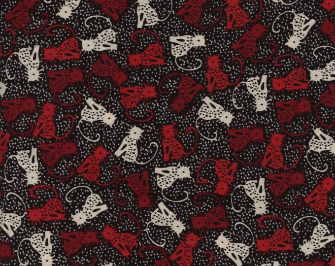 Whimsical tossed cat fabric, poly dress apparel fabric