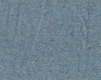Classic blue wool tweed fabric by the yard, tiny flecks of color