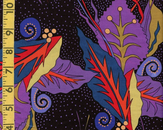 Large abstract leaf fabric by the yard, Clothworks Lorraine Torrence