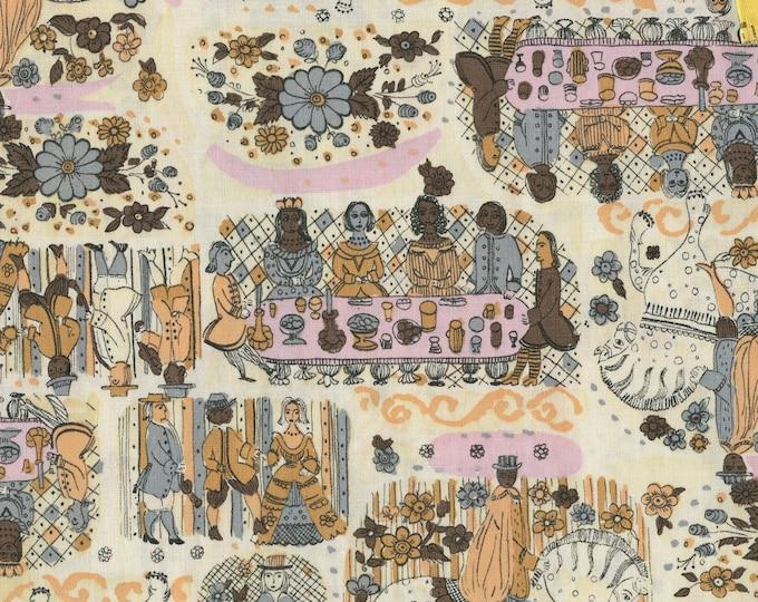 vintage Conversational print fabric, Colonial or Renaissance