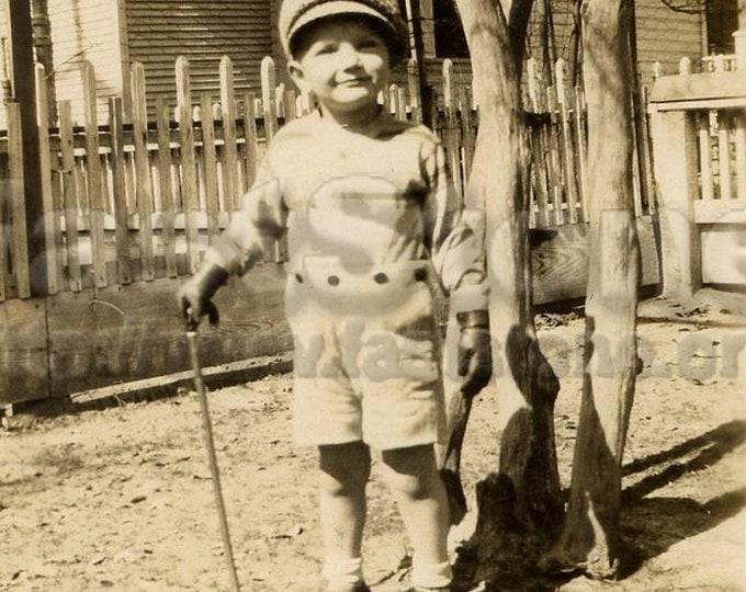 Downloadable 1930s depression era boy, antique photo JPG and PNG file