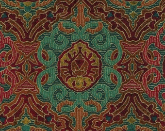Ornamental print fabric, Persian Turkish ethnic vibe vintage Wamsutta fabric