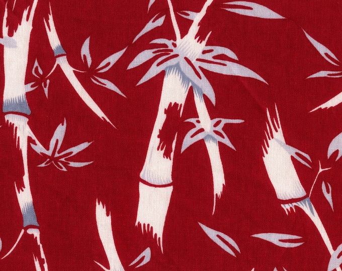 Red Asian bamboo theme upholstery fabric linen cotton blend