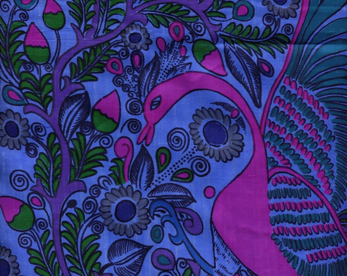 Blue and fuchsia pure silk fabric, peacock printed Thai silk saree fabric