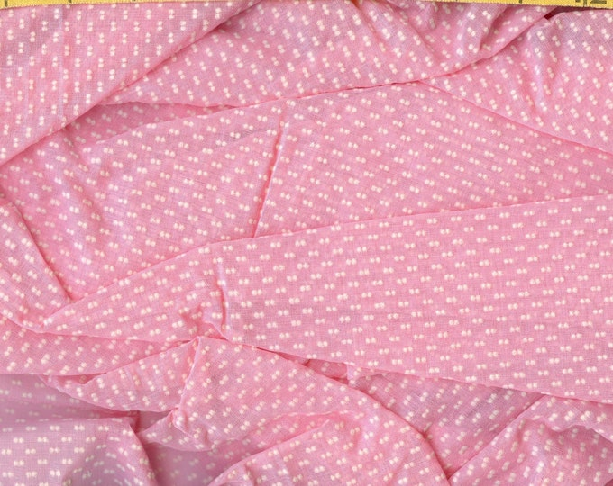 1970s flocked dot fabric, sheer organza, pink with white double dots