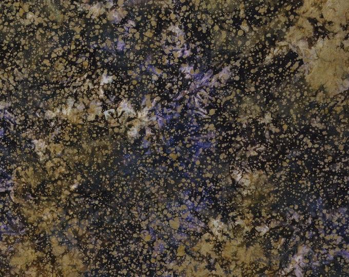 Splatter paint fabric, splotchy batik fabric, purple and olive greens