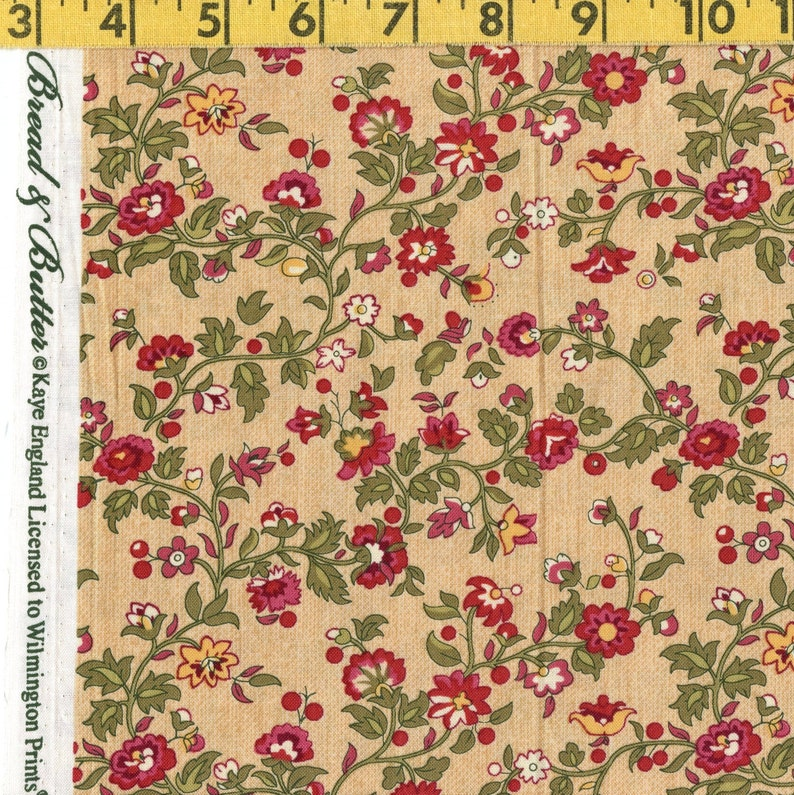 Victorian floral fabric climbing floral vine Kaye England Wilmington