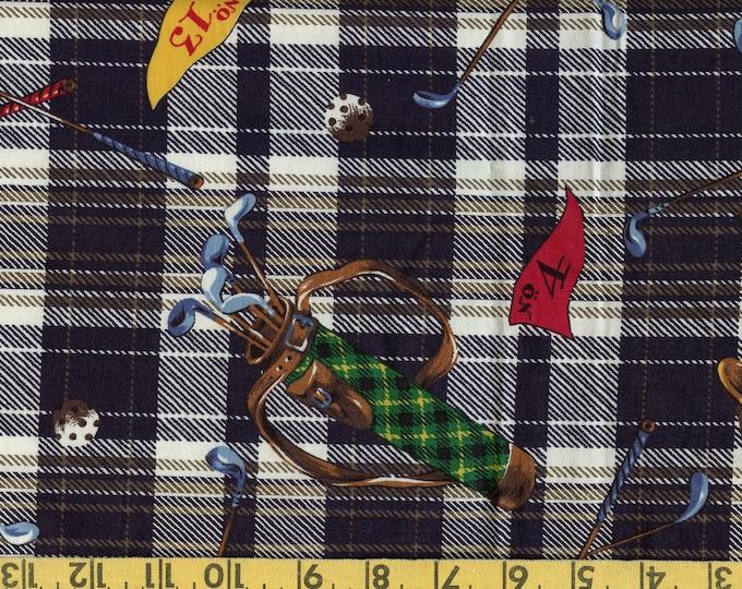 Golf fabric tossed, golf equipment on Tartan Scottish plaid, novelty cotton fabric
