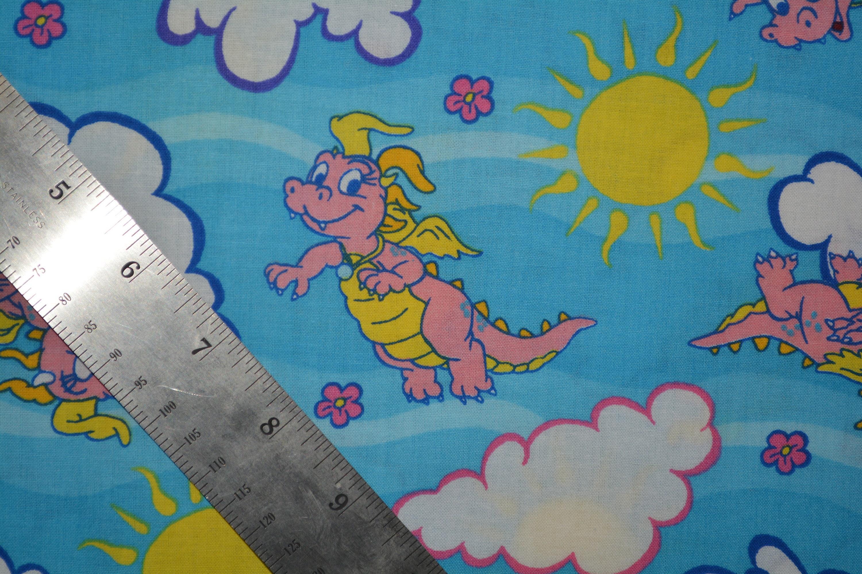 Cassie Dragon Tales Fabric Sesame Street Cartoon