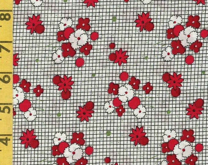 Reproduction floral fabric by the yard, 1940s retro cottage vibe, Matters of the Heart