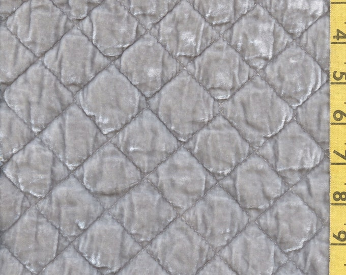 Silk velvet quilted fabric, Bella Notte fabric remnant, grey