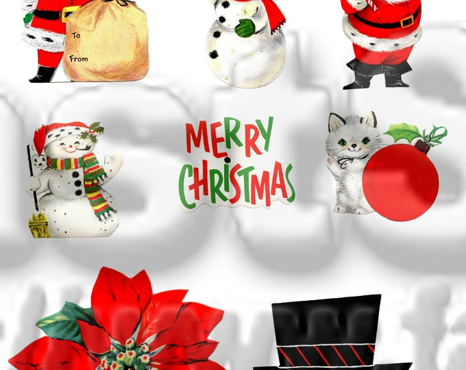 Vintage Santa Christmas digital images Printable Downloadable image
