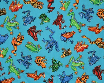 Tropical rainforest frogs fabric by the yard, Cranston vintage