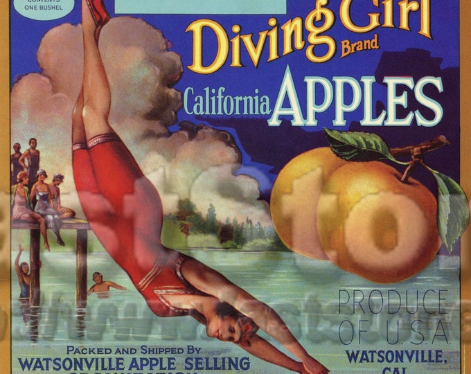 Vintage apple fruit crate label, sublimation files JPG PNG