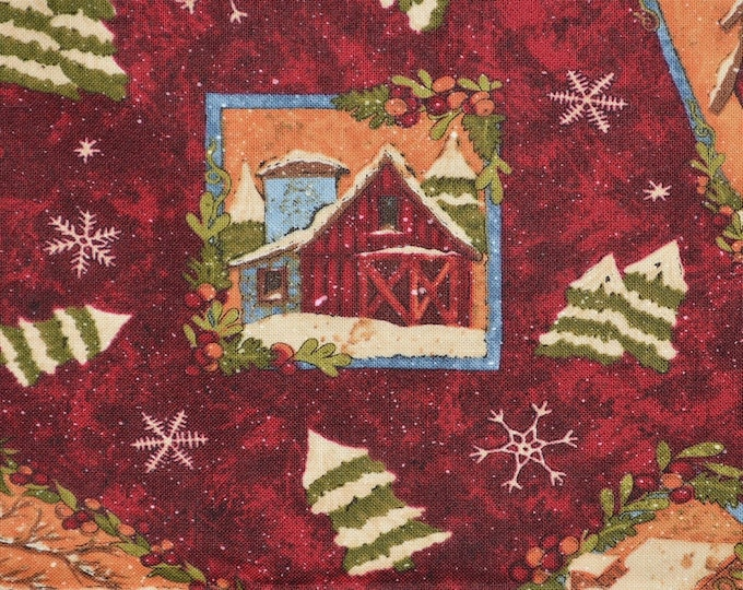 Country Christmas fabric, rustic rural barns, Rebecca Carter Wilmington