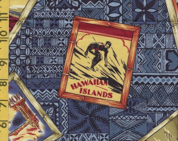 1990s Hawaiian fabric with tourist postcards on tapa print