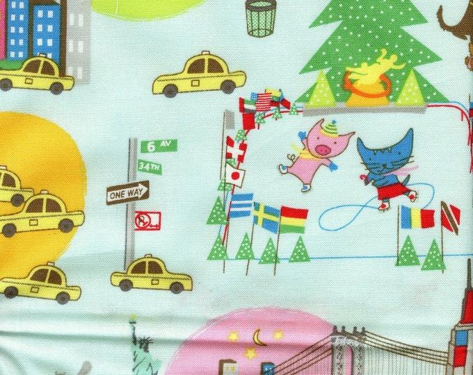 Cartoon kids travel fabric, NYC landmarks, animated