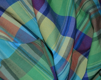 Aqua, blue and green plaid fabric, multicolor Woven Plaid fabric by the yard