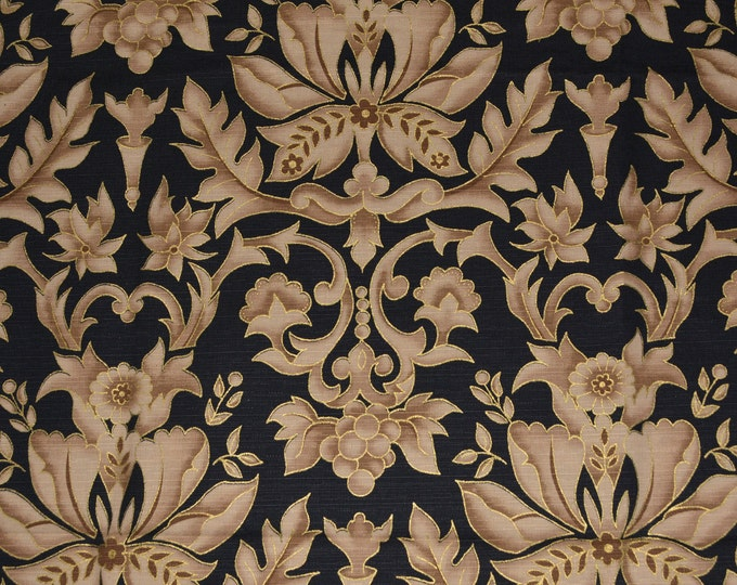 1990s ornamental large damask floral upholstery fabric, Anju Woodridge
