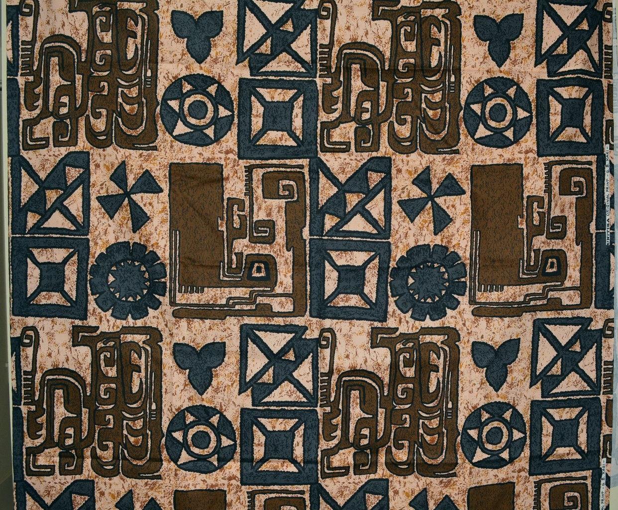 Polynesian Tiki Trader Vic Style Upholstery Fabric Vintage Cotton