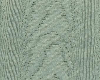 Vintage embossed wood grain Velvet upholstery fabric remnant, seafoam green