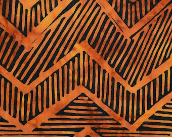 Orange and black batik fabric, tribal geometric stripe
