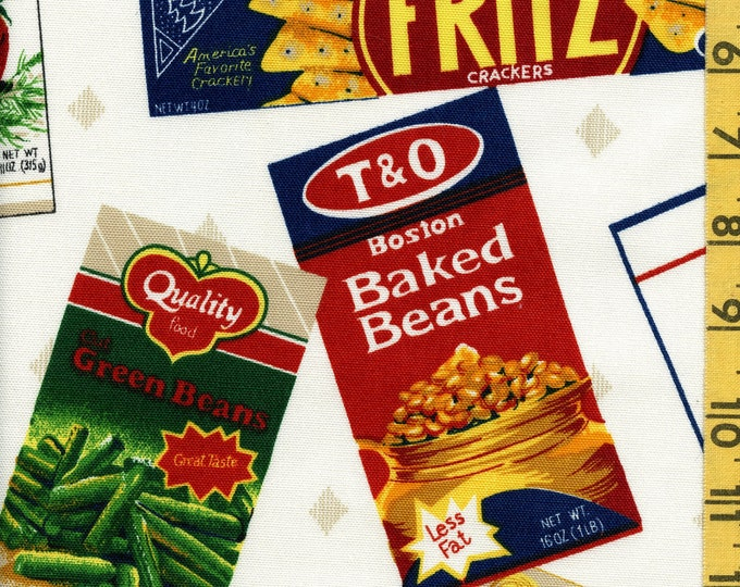 Grocery Novelty Print fabric sample, food labels tossed Westgate