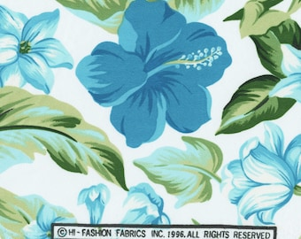 VINTAGE FABRIC Blue Hawaii floral fabric
