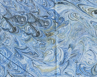 Blue Swirl marble print fabric, Quilters Treasures