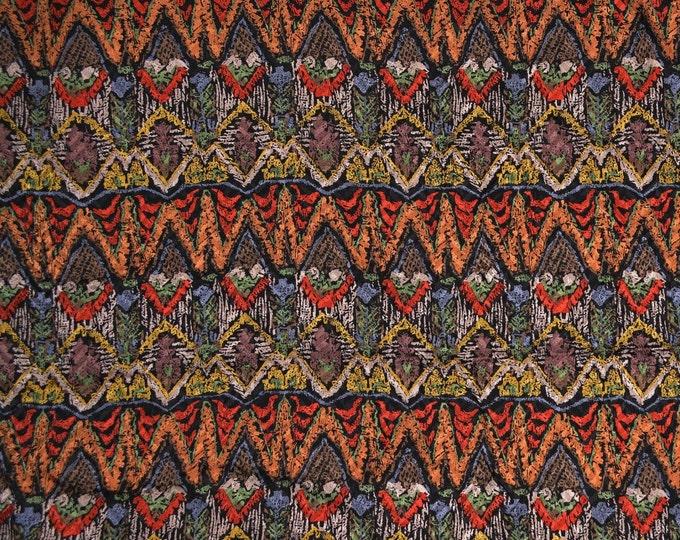 Vintage Pure silk fabric, ethnic geometric stripe silk by the yard