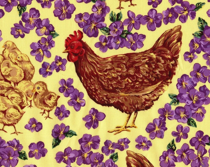 Chickens fabric, Rhode Island Red hens and chicks with pansies, Northcott cotton
