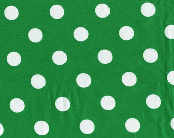 Vintage green and white polka dots fabric yardage