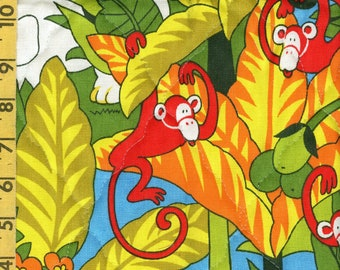 1970s fabric, groovy kids jungle zoo pre quilted fabric remnant