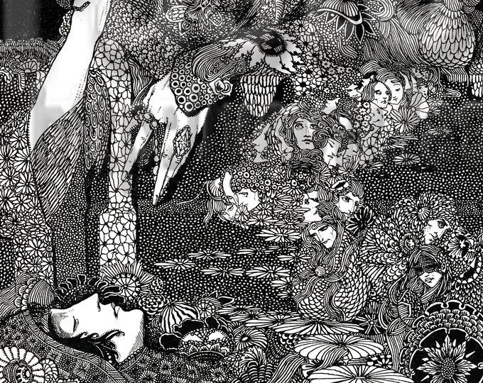 Downloadable Harry Clarke sketch, garden from Poe Tales of Mystery