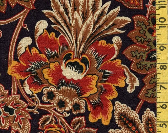 Jacobean or Kalamkari vintage barkcloth upholstery fabric, 2 yards