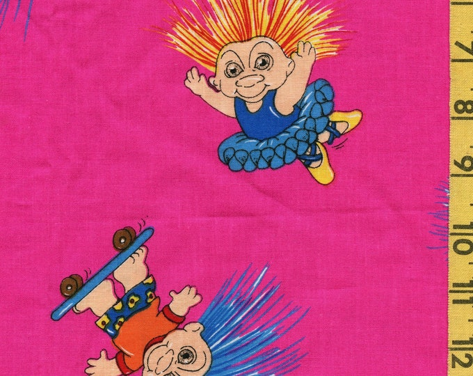 1990s fabric, Trolls Troll doll fabric, As Found As Is Marcus Brothers