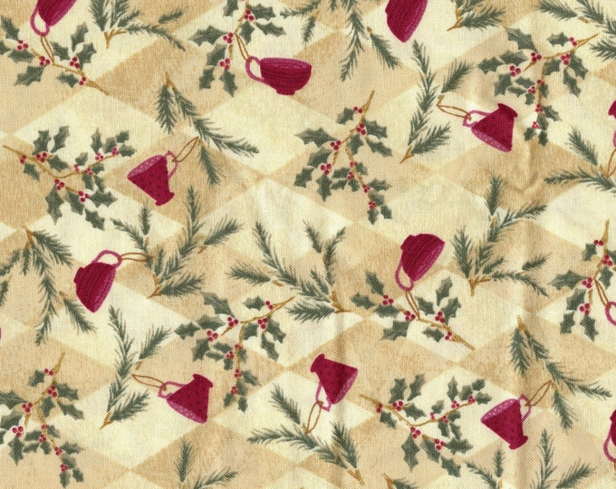 Christmas tea cups fabric, Nothcott quilting cotton fabric