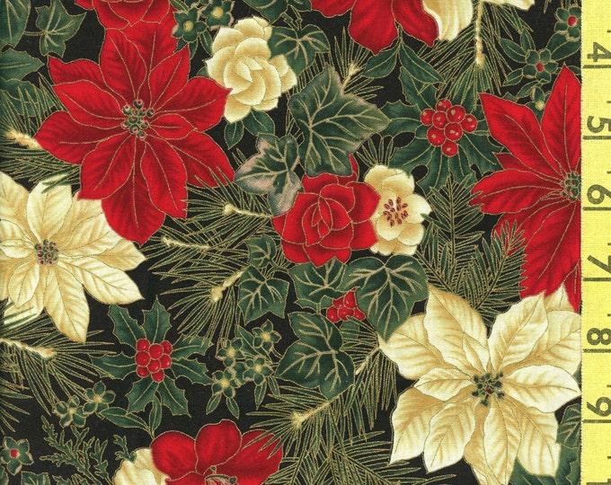 Winter floral fabric, Poinsettia fabric, Christmas fabric