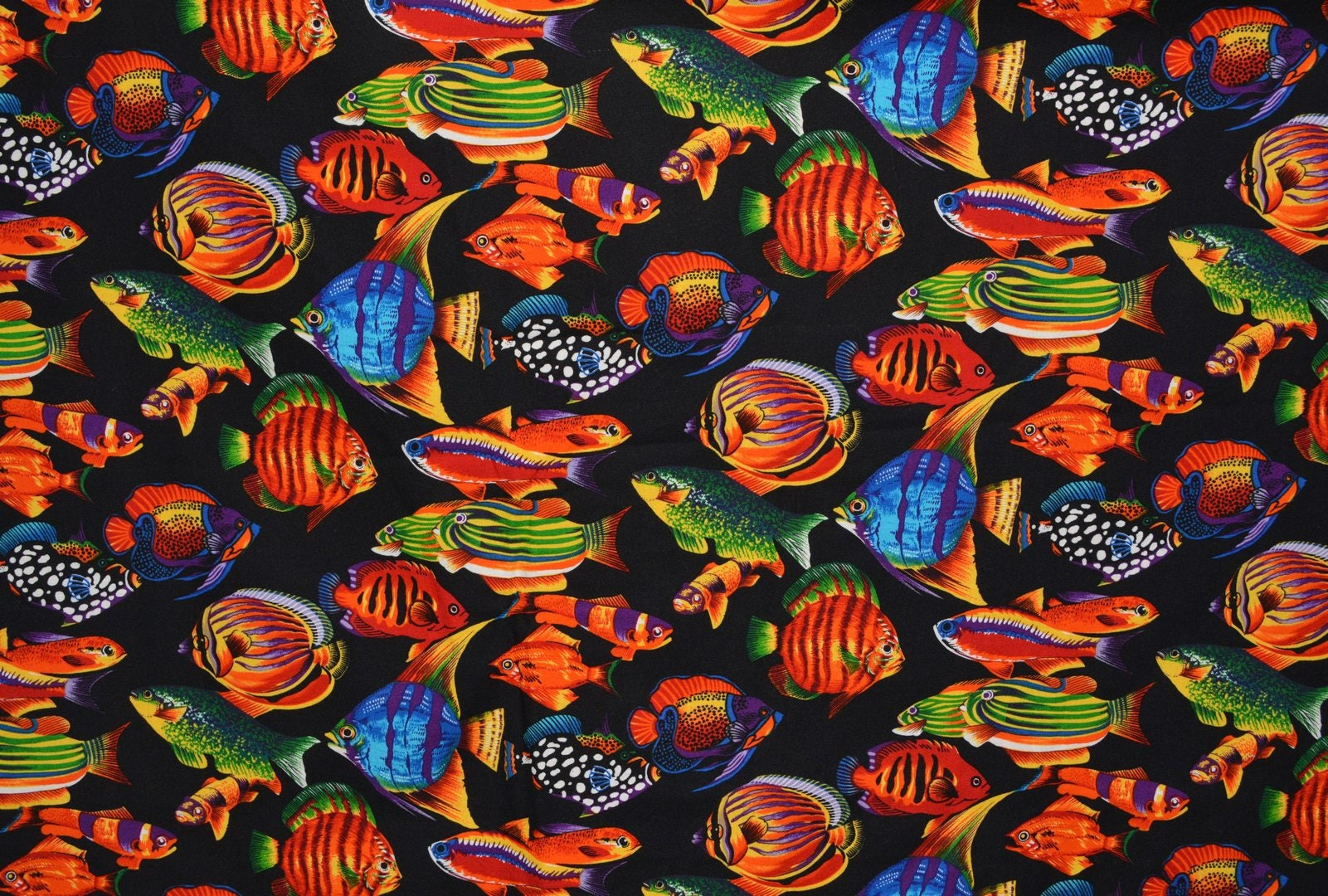 2 yards OOP Hoffman Fish Fabric Tropical Fish on black Novelty ...
