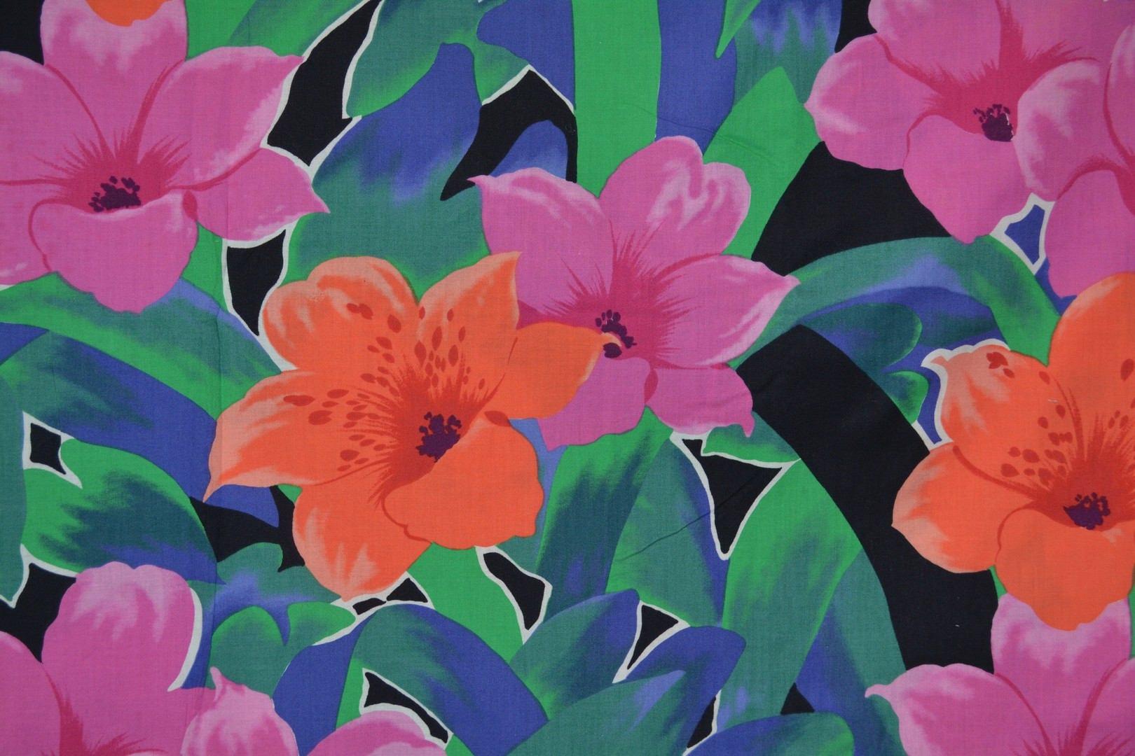 Vintage alexander henry tiger lilies 1990s hawaiian tropical flowers izmirmasajfo