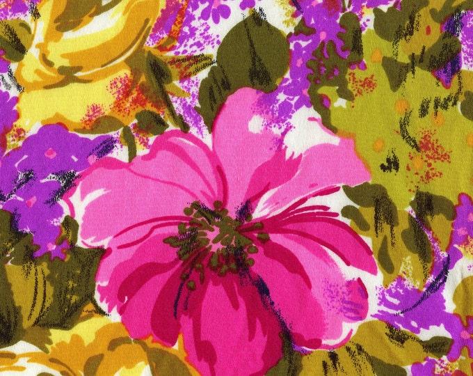 1970s mod floral fabric, neon hippie flowers, light acrylic barkcloth fabric